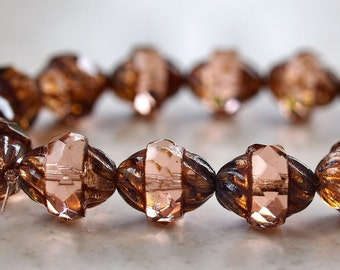 Picasso Czech Glass Turbine Bead Transparent Peach Antique Style Faceted 11x10mm Oval : 10 pc