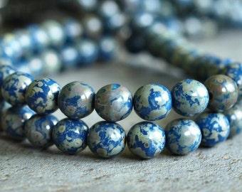 Cobalt Blue Picasso  6mm Czech Glass Round Druk Bead : 25 pc Strand Blue Round 6mm