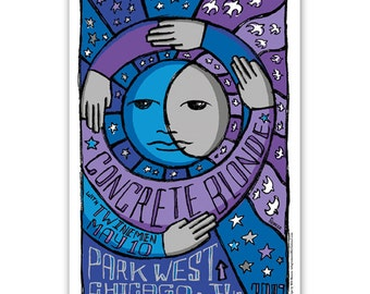 CONCRETE BLONDE moon stars concert poster Chicago 11x17 gig poster