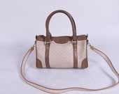 Vintage Tan Beige GUCCI Speedy Doctor's Bag Tote Detachable Strap