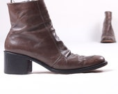 vintage gray leather beatle stack heel ankle boots made in Italy sz 40