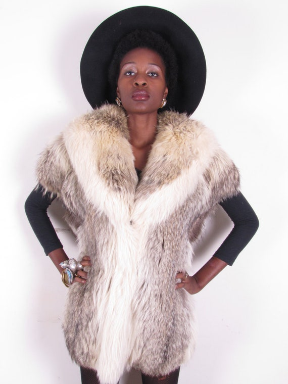 vintage 1980s oversize plush shaggy feathered genuine coyote wolf OVERSIZED vest jacket coat
