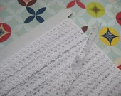 Cotton Lace Trim Ribbon natural cotton White  1cm width 2metres  2.2 yards