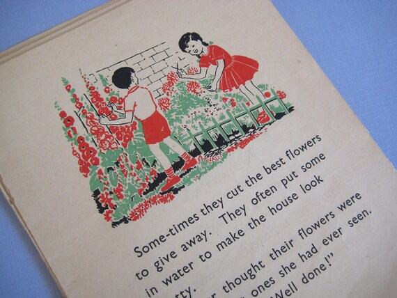 Vintage Paper Bundle - Illustrated school reader 10 pages 1950s sweet vintage illustrations children seasons