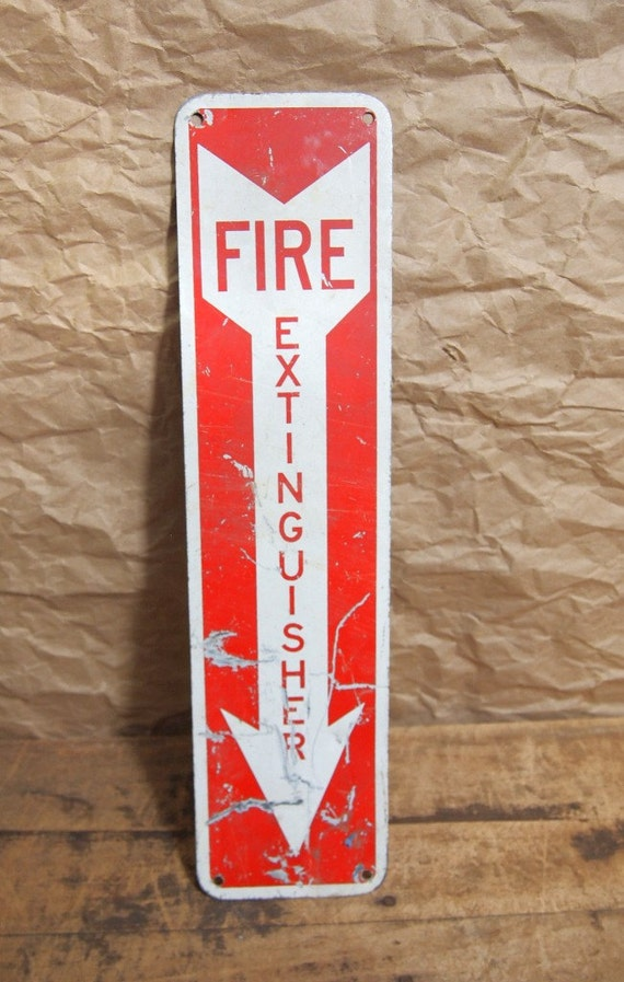 Vintage Metal Fire Extinguisher Arrow sign Red white