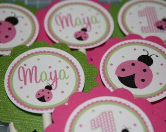 Ladybug Cupcake Toppers / Pink Ladybug Cupcake Toppers / Pink Ladybug Cupcake Picks / Ladybug Birthday Party / Pink Green Ladybug / Ladybug