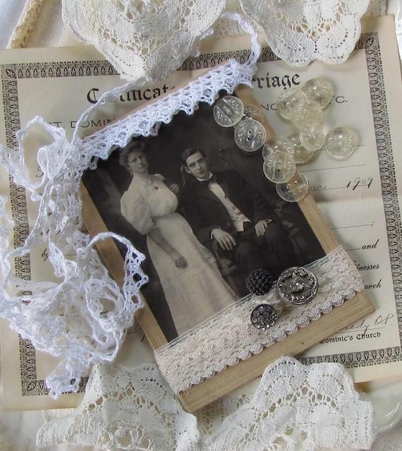 Vintage Supplies..Antique Cabinet Card..Trim..Buttons..Marriage Certificate