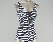 1950s zebra print swimsuit size small medium 50s black and white animal print bathing suit VLV