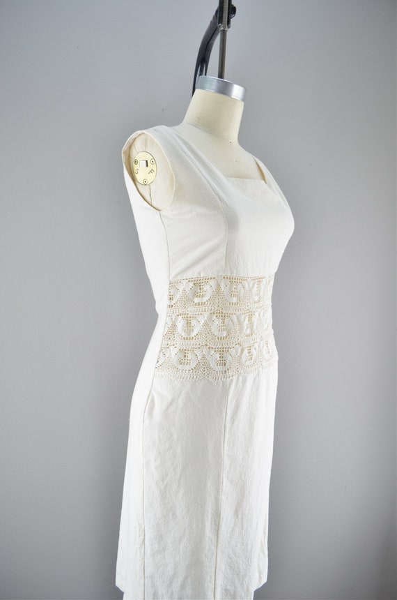 Vintage cotton shift / Crochet dress / Ivory day dress