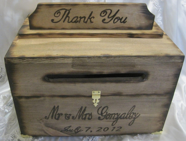 Rustic Wedding Gift Card Box : Large Rustic Wedding Card Box Keepsake Chest Woodburned