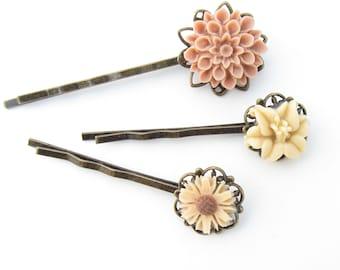 Peach Bobby pin Set Peach Hairpin Set Cream BobbyPin Set Peach Hair pin Pastel Bobby Pin Spring Wedding Bridal HairPins Flower BobbyPins
