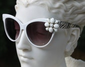 Vintage Jewelry Sunglasses - Modern Cat Eye with Beautiful Vintage Accent- Milk Glass