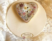 Ceramic Button, Heart Shape Vintage Style Button, Handmade Button, Tiny Flowers,  OOAK