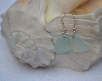 Genuine Sea Glass Earrings, Aqua Beach Glass Sterling Silver Earrings