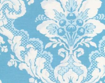 LAST 3/4 Yard - Tea Cakes - Faded Wallpaper - By Verna Mosquera - Blue Eyes - 5.95 Dollars