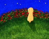 Blonde Cocker Spaniel Dog folk Art PRINT of Todd Young painting Moon and Stars
