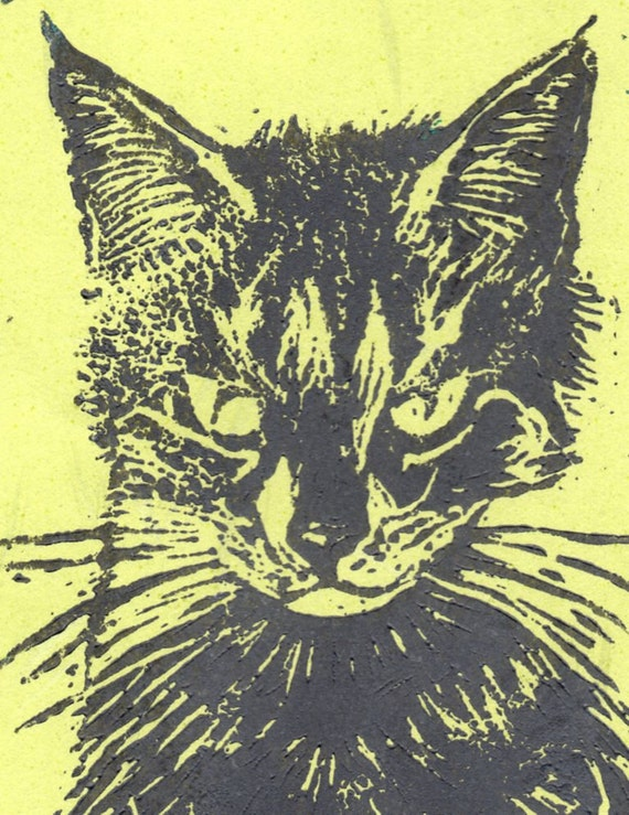 Custom Pet Linocut Portrait by minouette - Animal, Pet, Custom Portrait, Lino Block Print, Cat, Dog and More