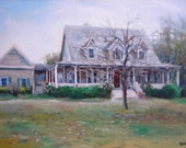 """House Home Portrait, 16 x 20"""" custom oil painting, made to order"""