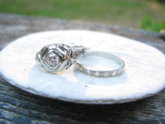 Edwardian to Art Deco 18K Original Carved Floral Old Cut Diamond Engagement and Wedding Band Set