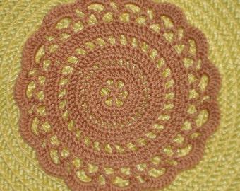 """New Handmade Crocheted """"Elegance"""" Coaster/Doily in Copper Mist"""