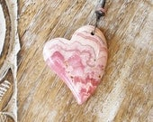 rhodochrosite necklace, heart pendant, heart necklace, pink necklace, silver chain resort jewelry boho jewelry CIJ