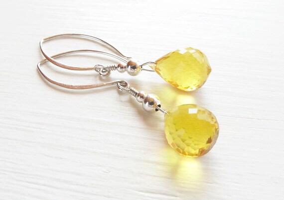 yellow citrine earrings briolette gemstone earrings yellow gemstone dangle earrings sterling silver earrings November birthstone earrings
