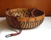 Hanging Planter : Vintage Bamboo Geometric Woven Basket Storage