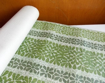 Vintage Wallpaper Roll : Mod Wallpaper, Bark Cloth in Grass Green Floral Stripe