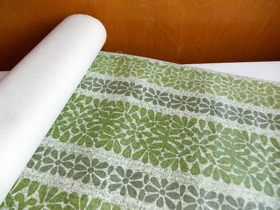 Vintage Wallpaper Roll : Mod Wallpaper, Bark Cloth in Grass Green Floral Stripe