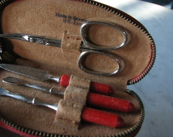 Vintage Manicure Set - Grooming Kit - Nail Care - German US Zone Personal Lapel Brush