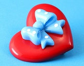Heart & Polka Dot Bow Brooch - Red and Blue