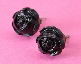 Romantic Black Rose Stud Earrings - Gothic Post Earrings