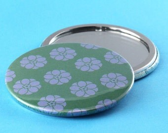 Pocket Mirror Flowers - Green & Blue