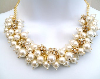 7 Pearl and Rhinestone Beaded Necklace, Bridal Jewelry, Cluster Necklace, Chunky Necklace, Bridesmaid Gift - Pearl and Crystals by Kim Smith