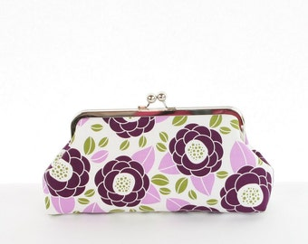 Floral purple clutch, Purple handbag, purple clutch purse, purple evening bag, bridesmaid gift, bridal party gifts