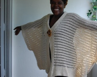 CROCHET SWEATER,  KIMONO, Offwhite Oversize Crochet Cardigan, Poncho,  Plus size sweater, Kimono,  available in cotton, wool, alpaca