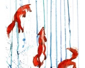 Foxes in the rain signed print