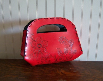 Leather Handbag-Sachel Beautiful Red with Paisley Pattern