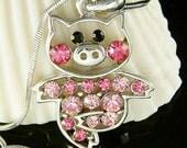 Swarovski crystal Pink PIG Piggy Piglet Charm Pendant Chain Necklace Cute Xmas