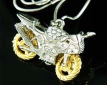 Swarovski Crystal HOT 3D Motorcycle Rider electric bike Cool Pendant Necklace