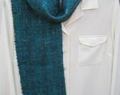 Handwoven handspun wool scarf - turquoise log cabin