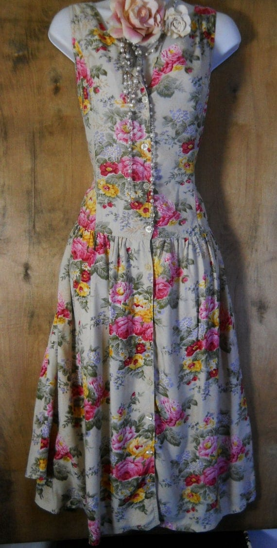 Floral vintage dress cotton cream pink roses  summer  romantic medium large  by vintage opulence on Etsy