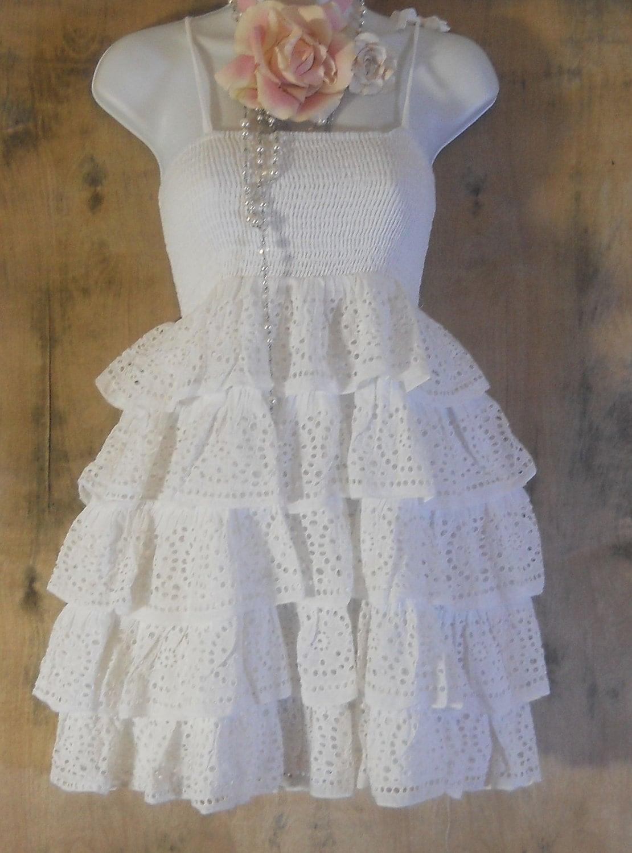 White ruffle dress SALE eyelet lace vintage cotton boho