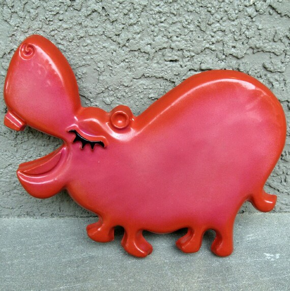 Vintage Hippo Wall Plaque