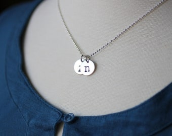 Hanstamped Letter Necklace, Personalized Initial Necklace- TWO CHARMS