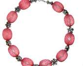 Red netted acrylic beads with flowers necklace