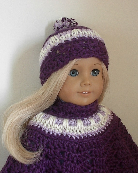 American Girl Doll Clothes - Crocheted Poncho Set - Violet with Lavender and Cream Trim for 18 Inch American Girl Doll