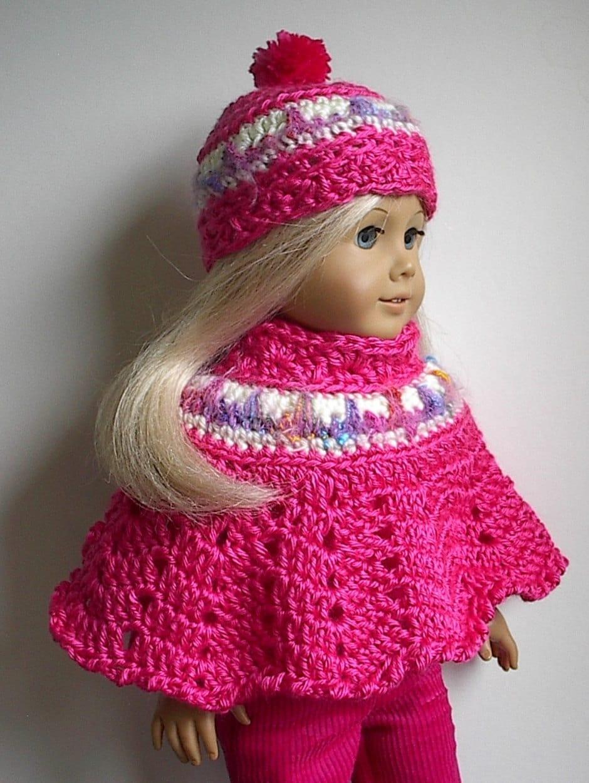 Crochet Amigurumi Pattern Hello Kitty Strawberry Hoolaloop : American Girl Doll Clothes Crocheted Poncho Set Watermelon