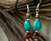 Martinique sunset - turquoise and czech glass fire polished earrings , sterling silver