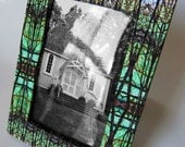 Picture Frame, Printed Nature Pattern on Paper Wrapped on Wood, Unique Digital Design with Trees, Blue - Green, for 4 x 6 photo